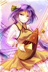 1girl biwa_lute brown_dress chain cuffs dress flower hair_flower hair_ornament instrument kutsuki_kai long_hair long_sleeves looking_at_viewer low_twintails lute_(instrument) playing_instrument purple_eyes purple_hair shackles shirt smirk solo touhou tsukumo_benben twintails very_long_hair