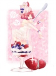 1girl bad_id bad_pixiv_id cup dress elbow_gloves food food_as_clothes frills fruit gloves highres ice_cream in_container in_cup in_food minigirl momoyama_nozomu original parfait red_eyes red_hair short_hair solo strawberry