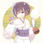 23_(candy_chapus) 2girls alternate_costume black_hair closed_eyes cotton_candy directional_arrow egasumi highres holding horns japanese_clothes kijin_seija kimono long_sleeves minigirl multicolored_hair multiple_girls obi pink_kimono purple_hair red_eyes red_hair sash short_hair smile streaked_hair sukuna_shinmyoumaru touhou upper_body white_hair white_kimono wide_sleeves