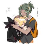 2boys antenna_hair backpack bag black_hair black_shirt blonde_hair blush closed_eyes commentary_request cropped_torso dark_skin dark_skinned_male earrings facing_another fuuga_(perv_rsity) gladio_(pokemon) hair_ornament hand_on_another's_head hau_(pokemon) high_ponytail jewelry long_sleeves multiple_boys multiple_earrings open_mouth pokemon pokemon_(game) pokemon_sm shirt short_ponytail short_sleeves sketch smile translation_request upper_body white_background yaoi