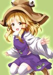 1girl :d animal_print bangs blonde_hair blush boots brown_eyes brown_footwear brown_headwear commentary_request eyebrows_visible_through_hair frog_print full_body green_background hair_ribbon hat highres jumping long_hair long_sleeves looking_at_viewer midriff_peek moriya_suwako open_mouth purple_skirt purple_vest red_ribbon ribbon ruu_(tksymkw) shirt sidelocks skirt smile solo thighhighs thighs touhou vest white_legwear white_shirt wide_sleeves zettai_ryouiki