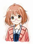 1girl brown_eyes brown_hair cardigan glasses kuriyama_mirai kyoukai_no_kanata red-framed_glasses red_glasses school_uniform sekiyu. short_hair smile