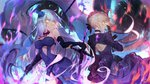 2girls ahoge artist_name artoria_pendragon_(all) bangs bare_shoulders black_gloves blonde_hair blue_dress blue_flower blue_rose braid breasts character_name closed_mouth commentary dark_excalibur dress elbow_gloves eyebrows_visible_through_hair fate/grand_order fate/stay_night fate_(series) flag flower gloves glowing glowing_eyes hair_between_eyes hair_flower hair_ornament holding holding_flag holding_sword holding_weapon jeanne_d'arc_(alter)_(fate) jeanne_d'arc_(fate)_(all) juliet_sleeves long_hair long_sleeves looking_at_viewer looking_back medium_breasts multiple_girls profile puffy_sleeves purple_dress rose saber_alter signature silver_hair strapless strapless_dress sword usanekorin very_long_hair weapon white_flag yellow_eyes