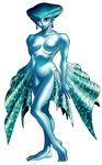 1girl absurdres blue_skin breasts earrings fish_girl highres jewelry monster_girl official_art pointy_ears princess_ruto purple_eyes solo the_legend_of_zelda the_legend_of_zelda:_ocarina_of_time zora