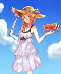 1girl blue_eyes blue_sky bracelet breasts brown_hair cleavage cloud collarbone day dress felicia_(fire_emblem_if) fire_emblem fire_emblem_if food fruit hair_over_shoulder hat highres holding holding_knife holding_plate jewelry knife layered_dress leatzche long_hair looking_at_viewer medium_breasts necklace outdoors plate sky sleeveless sleeveless_dress smile solo standing straw_hat sun_hat sundress watermelon white_dress yellow_headwear