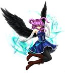 1girl angel angel_wings armpits bangs bare_shoulders black_angel_(elona) black_legwear black_wings blue_dress boots breasts brown_footwear corset cross cross-laced_footwear cross_necklace dress elbow_gloves elona eyebrows eyebrows_visible_through_hair facing_away feathered_wings feathers flying frilled_dress frills full_body gloves hair_between_eyes hair_tie highres jewelry knee_boots lace-up_boots long_hair looking_at_viewer magic mia_(yanaginiame) necklace open_mouth pantyhose platform_boots platform_footwear purple_hair red_eyes red_ribbon ribbon sidelocks simple_background small_breasts smile solo spread_wings strapless strapless_dress tsurime two_side_up white_background white_gloves wings