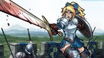 1girl armor battle blonde_hair blood blood_splatter bloody_weapon blue_eyes boots bow breastplate brown_gloves circlet commentary elf fantasy foreshortening gloves hair_bow highres open_mouth original pauldrons pointy_ears ponytail ronindude shield shouting solo sword thigh_boots thighhighs weapon zettai_ryouiki