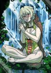 1girl barefoot blush boots_removed breasts cloak commentary elf forest ganassa goblin_slayer! green_eyes green_hair high_elf_archer_(goblin_slayer!) highres nature navel navel_cutout pointy_ears small_breasts smile solo sweat water waterfall