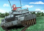 1girl artist_request brown_eyes caterpillar_tracks cloud commentary_request crusader_(tank) cup day emblem girls_und_panzer grass ground_vehicle military military_vehicle motor_vehicle red_hair rosehip short_hair sky smile solo st._gloriana's_(emblem) st._gloriana's_military_uniform tank teacup