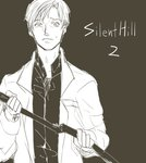 1boy collared_shirt holding holding_pipe jacket james_sunderland lead_pipe limited_palette looking_at_viewer lowres male_focus open_clothes open_collar open_jacket pipe shirt silent_hill silent_hill_2 worried