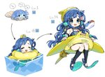1girl :d :x ^_^ anchor_earrings anchor_hat_ornament asari_nanami bangs blue_eyes blue_hair blue_nails blush clam_shell closed_eyes crying dot_nose evolution fish flippers floating hat head_fins highres idolmaster idolmaster_cinderella_girls in_water innertube long_hair mermaid mini_hat monster_girl name_tag one-piece_swimsuit open_mouth school_swimsuit shell_hair_ornament smile spawnfoxy starfish_earrings strapless strapless_swimsuit swimsuit trembling upper_teeth wavy_hair