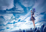 1girl blue_eyes blue_hair bow cirno cloud dress from_behind hair_bow ice ice_wings looking_back short_sleeves sky solo touhou wings zhandou_greymon