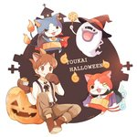 1boy amano_keita animal_ears artist_name blue_fire boots brown_hair candy cape cat cross eating english fangs fire food food_on_face gabunyan ghost gloves halloween haramaki hat jack-o'-lantern jibanyan kemonomimi_mode licking_lips lollipop looking_at_viewer mei_(maysroom) multiple_tails notched_ear one_eye_closed open_mouth pants paw_gloves paws pumpkin purple_lips short_hair simple_background sitting suspenders swirl_lollipop tail tail-tip_fire tombstone tongue tongue_out two_tails vampire whisper_(youkai_watch) white_background witch_hat youkai youkai_watch youkai_watch_2
