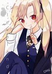 1girl asymmetrical_bangs azur_lane bangs black_neckwear black_ribbon blonde_hair blue_jacket blue_pants blue_vest cake_(isiofb) character_name chinese_commentary cleveland_(azur_lane) closed_mouth collared_shirt commentary_request eyebrows_visible_through_hair fingernails hair_ribbon hands_up head_tilt index_finger_raised jacket jacket_on_shoulders light_smile long_hair long_sleeves looking_at_viewer one_side_up pants parted_bangs red_eyes ribbon shirt signature solo striped striped_neckwear vertical-striped_neckwear vertical_stripes very_long_hair vest white_shirt