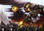 armor battle boots chainsword cleaver eldar explosion fenris flying gun helmet highres jetpack no_humans orc orkz red_eyes scar shoota smoke waaagh! warhammer_40k weapon