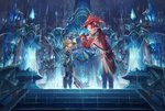 1boy 2boys alternate_costume armor boots bracelet clenched_hand commentary_request eye_contact head_fins holding holding_weapon jewelry link looking_at_another multiple_boys palace polearm ponytail rain sash scorpion5050 shoulder_armor sidon smile standing the_legend_of_zelda the_legend_of_zelda:_breath_of_the_wild trident weapon wet zora