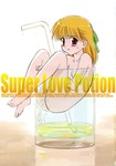 1girl :p barefoot blonde_hair blush bow breasts cleavage cup drinking_straw engrish glass highres in_container in_cup jitama_(bou) minigirl nude orange_hair pee peeing peeing_in_cup ranguage red_eyes shiimoto_aya small_breasts solo super_love_potion sweat tongue tongue_out