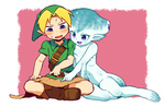 1boy 1girl barefoot blonde_hair blush boots breast_press hat indian_style link monster_girl nervous ocarina_of_time om_(artist) pointy_ears princess_ruto sitting smile sweat the_legend_of_zelda webbed_feet zora