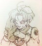 1boy ;d animal cat dragon_ball dragon_ball_super dragon_ball_z happy jacket monochrome one_eye_closed open_mouth scarf short_hair simple_background smile tama_(dragon_ball) tkgsize traditional_media trunks_(dragon_ball)