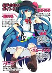 1girl blue_bow blue_hair blue_skirt blush boots bow brown_footwear buttons closed_mouth commentary cross-laced_footwear food frills from_below fruit hat highres hinanawi_tenshi leaf lolimate long_hair looking_at_viewer neck_ribbon one_eye_closed peach puffy_short_sleeves puffy_sleeves rainbow_order red_bow red_eyes ribbon shirt short_sleeves skirt solo sweatdrop touhou translated very_long_hair white_shirt