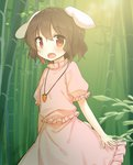 1girl animal_ears bamboo bamboo_forest black_hair blush bunny_ears bunny_tail carrot carrot_necklace forest highres inaba_tewi jewelry light looking_at_viewer nature necklace open_mouth puffy_sleeves red_eyes shinoba shirt short_hair short_sleeves skirt smile solo tail touhou vest