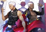 3boys absurdres archer arm_up bare_arms black_pants black_shirt brown_eyes buzz_cut closed_mouth collarbone commentary_request covered_collarbone cuffs emiya_alter emiya_shirou facing_away fate/grand_order fate/stay_night fate_(series) fingernails forehead hand_up head_tilt highres honeycomb_(pattern) honeycomb_background kamonegi_(meisou1998) kanshou_&_bakuya long_sleeves looking_at_viewer male_focus multiple_boys orange_hair pants parted_lips profile raglan_sleeves shirt sleeveless sleeveless_shirt white_hair white_shirt yellow_eyes