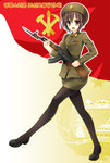 1girl ak-47 assault_rifle badge bayonet belt breasts brown_eyes brown_hair brush coat_of_arms communism dam flag goosestepping gun hammer hammer_and_sickle hangul hat korean kukan marching medal military military_hat military_uniform mountain north_korea open_mouth outline pantyhose power_lines propaganda red rifle sad shoes short_hair sickle solo star tagme translation_request uniform weapon white_outline