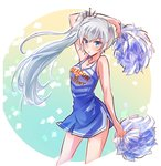 1girl :o arm_at_side arm_up bangs bare_shoulders blue_dress blue_eyes blush breasts cheerleader cleavage clothes_writing confetti contrapposto cropped_legs dress eyebrows_visible_through_hair gradient gradient_background highres holding iesupa jewelry long_hair looking_at_viewer necklace parted_lips pendant rwby side_ponytail side_slit silver_hair small_breasts solo standing thighs tsurime very_long_hair weiss_schnee