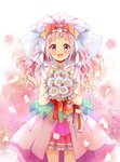 1girl :d bouquet bow cheerful_style choker commentary cowboy_shot cure_yell daisy flower hair_bow hair_ornament heart heart_hair_ornament highres holding holding_bouquet hugtto!_precure layered_skirt lazy_orange long_hair looking_at_viewer magical_girl multicolored_bow nono_hana open_mouth petals pink_background pink_eyes pink_hair pink_skirt precure skirt smile solo standing veil wavy_hair white_background