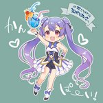 1girl :d bare_arms bare_legs bike_shorts black_shorts blue_bow blue_hawaii bow bowtie cherry cup detached_collar double_bun fan_flower_(flower_knight_girl) flower_knight_girl food fruit green_background hair_ornament hairclip hand_on_hip holding holding_cup long_hair looking_at_viewer navel open_mouth orange orange_slice pico_(p_i_c_o) pink_eyes purple_hair shoe_bow shoes short_shorts shorts simple_background skirt smile solo striped twintails vertical-striped_skirt vertical_stripes white_footwear wrist_cuffs