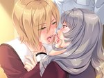 1boy 2girls bisexual_(female) blonde_hair blush censored chin_grab eye_contact fellatio game_cg green_eyes grey_hair hair_between_eyes long_hair looking_at_another mochizuki_nozomu mosaic_censoring multiple_fellatio multiple_girls oral penis purple_eyes reika_mizuki saimin_class_wonderful school_uniform short_hair tongue tongue_out yuzuki_kei_(saimin_class)
