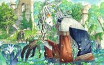 1boy 1girl blonde_hair commentary_request detached_sleeves fantasy headband horns lily_pad orange_eyes outdoors partially_submerged pixiv_fantasia pixiv_fantasia_last_saga reeds ruins sitting sky-art sleeveless treant tree water
