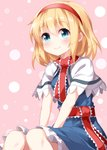 1girl alice_margatroid ascot bangs blonde_hair blue_dress blue_eyes blush capelet closed_mouth commentary_request dress eyebrows_visible_through_hair feet_out_of_frame frilled_ascot frilled_sash frills hair_between_eyes hairband hands_on_lap highres looking_at_viewer patterned_background petticoat pink_background puffy_short_sleeves puffy_sleeves red_hairband red_neckwear red_sash ruu_(tksymkw) sash short_hair short_sleeves sitting smile solo touhou white_capelet