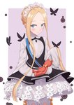 1girl abigail_williams_(fate/grand_order) absurdres bangs black_dress blonde_hair bloomers blue_eyes blush bow braid bug butterfly butterfly_hair_ornament closed_mouth commentary_request dress eyebrows_visible_through_hair fate/grand_order fate_(series) forehead hair_ornament heroic_spirit_chaldea_park_outfit highres insect keyhole long_hair long_sleeves maki_(pixiv9288678) orange_bow parted_bangs purple_background shirt sidelocks sleeves_past_fingers sleeves_past_wrists smile solo stuffed_animal stuffed_toy teddy_bear two-tone_background underwear very_long_hair white_background white_bloomers white_shirt