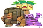 bummerdude commentary creature english_commentary exeggutor full_body gen_1_pokemon golem_(pokemon) looking_at_viewer muk no_humans pokemon pokemon_(creature) pokemon_quest simple_background white_background
