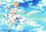 1girl absurdres bangs blue_sky blush cardcaptor_sakura closed_mouth cloud cloudy_sky crown day dress eyebrows_visible_through_hair flower full_body gloves green_eyes hair_between_eyes high_heels highres holding holding_wand horizon huge_filesize kinomoto_sakura leg_up light_brown_hair looking_at_viewer looking_back looking_to_the_side mini_crown ocean outdoors petals pink_flower reflection ripples scan shiny shiny_hair shiny_skin simple_background sky sleeveless sleeveless_dress smile solo staff standing standing_on_one_leg toosaka_asagi wand water white_dress white_footwear white_gloves yume_no_tsue