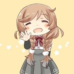 1girl =_= arm_warmers beige_background bow bowtie braid chibi facing_viewer hinata_yuu kantai_collection light_brown_hair long_hair minegumo_(kantai_collection) open_mouth plaid_neckwear pleated_skirt red_neckwear shirt simple_background skirt solo star starry_background suspenders twin_braids waving_arm white_shirt