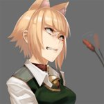 1girl anger_vein angry animal_ears bell bell_collar blonde_hair breasts cat_ears cattail clenched_teeth collar kuraishi_tanpopo plant short_hair solo sweater_vest tef witch_craft_works yellow_eyes