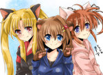 3girls :3 animal_ears bangs black_shirt blonde_hair blue_eyes blue_shirt brown_hair cat_ears closed_mouth dasuto dated dog_ears eyebrows_visible_through_hair fang fate_testarossa gloves hair_ornament hair_ribbon kemonomimi_mode long_hair long_sleeves looking_at_viewer lyrical_nanoha medium_hair multiple_girls paw_gloves paws pink_shirt red_eyes ribbon shirt side-by-side smile takamachi_nanoha twintails twitter_username upper_body x_hair_ornament yagami_hayate