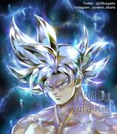 1boy artist_name aura black_background blue_background close-up commentary_request dragon_ball dragon_ball_super dragon_ball_z expressionless face frown grey_eyes grey_hair instagram_username kim_yura_(goddess_mechanic) looking_away male_focus serious shirtless short_hair simple_background son_gokuu spiked_hair spoilers twitter_username ultra_instinct upper_body watermark