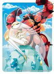 buzzwole commentary_request flexing gen_7_pokemon insect_girl kirisaki muscle no_humans official_art pheromosa pokemon pokemon_(creature) pokemon_(game) pokemon_sm pokemon_trading_card_game pose ultra_beast
