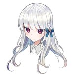 1girl blue_ribbon blush braid closed_mouth collared_shirt commentary_request copyright_request grey_shirt hair_ribbon ikeuchi_tanuma long_hair portrait red_eyes ribbon shirt silver_hair simple_background solo white_background wing_collar