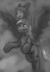 1girl :o :q bow chibi cirno cloud cross_eyed crossover derpy_hooves flying greyscale hair_bow horse monochrome my_little_pony my_little_pony_friendship_is_magic o_o on_head open_mouth ottanta outdoors pegasus person_on_head riding saliva short_hair sketch sky tongue tongue_out touhou wings