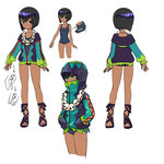 1girl black_hair blue_swimsuit bob_cut character_sheet collarbone covered_mouth dark_skin facing_away genderswap green_eyes high_collar highres hood hoodie journey_to_the_west otosama sandals school_swimsuit sha_wujing short_hair skull_necklace swimsuit tied_sleeves