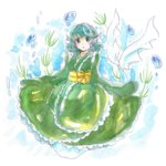 1girl blue_hair bubble faux_traditional_media green_hair head_fins highres japanese_clothes kimono mermaid monster_girl open_mouth plant solo tama_(hiroshige_36) touhou underwater wakasagihime