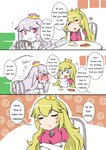2girls >_< blue_eyes closed_eyes comic crown cup dress embarrassed english engrish flying_sweatdrops hands_on_own_cheeks hands_on_own_face heart luigi's_mansion mario_(series) multiple_girls new_super_mario_bros._u_deluxe note paper plate princess_king_boo princess_peach ranguage red_eyes sesield super_crown teacup wavy_mouth white_dress white_hair