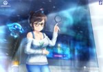 1girl artist_name black-framed_eyewear blue_pants blue_shirt breasts brown_eyes brown_hair chinchongcha cleavage collarbone drawing drone ecopoint_mei floating glass glasses gloves hair_bun hair_ornament hair_stick highres indoors large_breasts long_sleeves looking_at_viewer math mei_(overwatch) overwatch pants robot shirt short_hair signature snowball_(overwatch) solo tank_top trigonometry upper_body watermark web_address white_shirt
