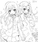 2girls blush chiyingzai drawr flower greyscale holding holding_flower holding_hands ib ib_(ib) long_hair looking_at_viewer mary_(ib) monochrome multiple_girls oekaki open_mouth petals pose rose smile wind