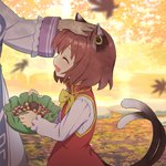 2girls :d ^_^ acorn animal_ears autumn autumn_leaves bow bowtie brown_hair cat_ears cat_girl cat_tail chen china_dress chinese_clothes closed_eyes commentary_request day dress earrings falling_leaves fang hand_on_another's_head hat hat_basket hat_removed headwear_removed holding holding_hat jewelry kurobuta_gekkan leaf long_sleeves motion_blur multiple_girls nekomata open_mouth out_of_frame outdoors petting pinecone red_dress shirt short_hair smile solo_focus tabard tail touhou upper_body white_shirt yakumo_ran yellow_bow yellow_neckwear