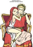 2boys absurdres androgynous anklet barefoot blonde_hair bracelet character_name closed_mouth commentary english_commentary frown highres jewelry laurel_crown long_hair looking_at_viewer multiple_boys nero_claudius_caesar_augustus_germanicus otoko_no_ko peach_(momozen) poppaea_sabina real_life red_eyes red_hair roman_clothes simple_background sitting sitting_on_lap sitting_on_person sketch smile throne toga white_background